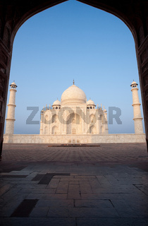 Empty Taj Mahal Through Gateway Silhouette