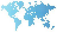 World map of blue tiles