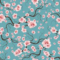 Vintage Seamless Pattern Bloom Flowers