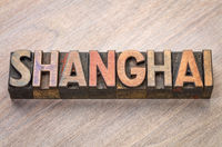 Shanghai, word abstract in wood type