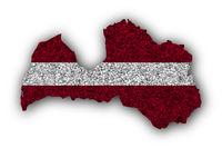 Karte und Fahne von Lettland auf Mohn - Map and flag of Latvia on poppy seeds