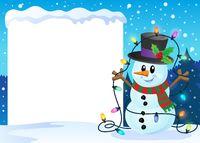 Snowy frame with Christmas snowman 2