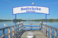 Pier of Rechlin at Lake Mueritz,Mecklenburg Lake District,Germany