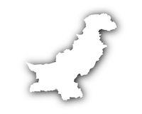 Karte von Pakistan mit Schatten - Map of Pakistan with shadow