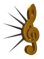 notenschlüssel mit stacheln - 3d illustration
