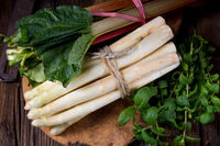 White asparagus and rhubarb