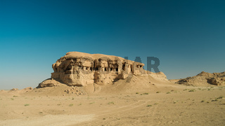 Butte at the dried shore of Razazza lake, Iraq