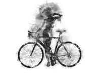 Naked woman with a bicycle. Charcoal graphics