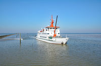 Ferry from Spiekeroog to Neuharlingersiel,North Sea,East Frisia,lower Saxony,Germany