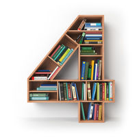 Number 4 four. Alphabet in the form of shelves with books isolated on white.