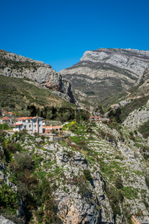 Homes on the cliff in Montenegro