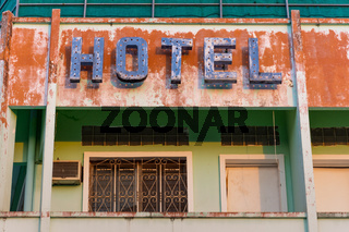Old metal Hotel sign.