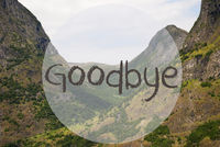 Valley And Mountain, Norway, Text Goodbye