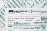 Macro close up of 2017 IRS form 1040