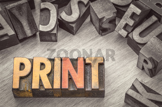 print word abstract in wood type