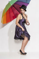 Woman with colorful umbrella