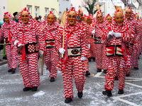 red-white plätzler - fool figures from Weingarten in Upper-swabia