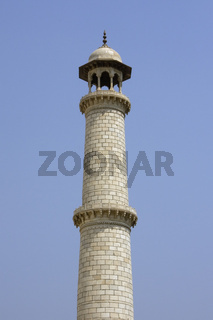Minaret of the Taj Mahal at Agra, India