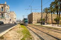 The tram in Jerusalem. Israel