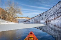 winter kayak paddling in Colorado
