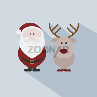 Santa Claus with reindeer on grey background