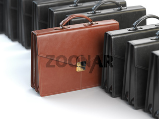 Choosing stock market portfolio or briefcase concept. One unique brown briefcase in the row of black briefcases.