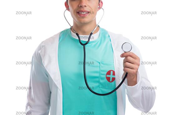 Arzt Doktor mit Stethoskop Herz Untersuchung Freisteller