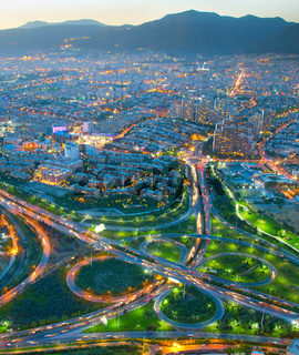 Tehran aerial view twilight, Iran