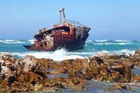 wreck Meisho Maru at Cape Agulhas in South Africa, the most southern point in Africa