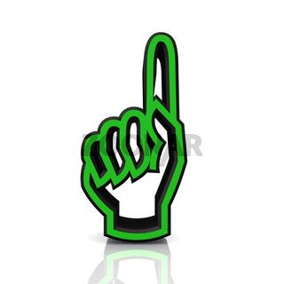 3D Zeigefinger hoch - grün