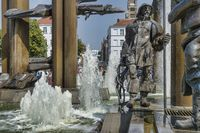 The fountain figure of a fisherman in the market square