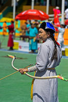 Female archer, Naadam Festival, National Sports Stadium, Ulaanbaatar, Mongolia