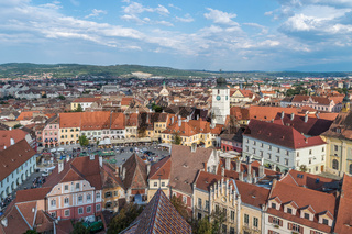 The view of the historical center of Sibiu from above