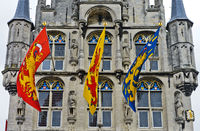 Flags at the gothic city hall, Stadhuis, Gouda, Netherlands