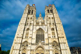 Facade of the Cathedral of St. Michael and St. Gudula in Brussels, Belgium
