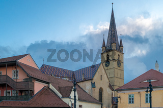 View to the Lutheran Cathedral from the historical center of Sibiu