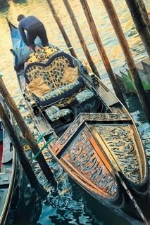 Gondola in the morning sun in Venice, Italy