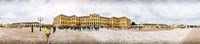 Panorama of Schönbrunn Palace in Vienna with Women taking photo and random people