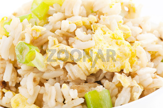 Fried Rice with Vegetable as closeup on a white plate
