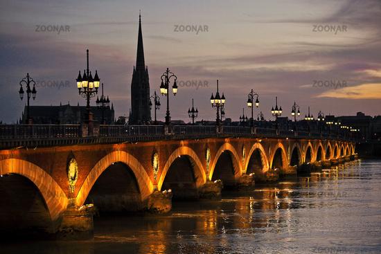 Pont de Pierre, Bordeaux, Aquitaine, France