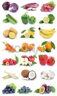 Obst und Gemüse Früchte Apfel Orange Farben frische Collage Karotten Beeren Freisteller freigestellt isoliert