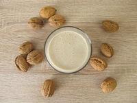 Homemade protein shake with walnut flour