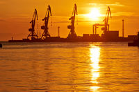 Summer sunset in the port