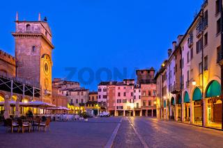 Mantova city Piazza delle Erbe evening view panorama