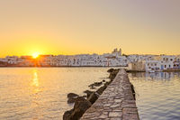 The sunrise at the port of Naousa, Greece