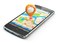 Mobile GPS navigation travel concept. Smartphonewith pin on city map isolaed on white background.