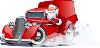 Cartoon retro Christmas delivery truck