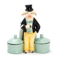 Antique porcelain boxes for cosmetics with figurines