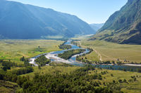 View of the valley of Altai river Chulyshman