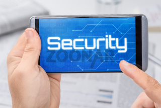 Smartphone with the text Security on the display